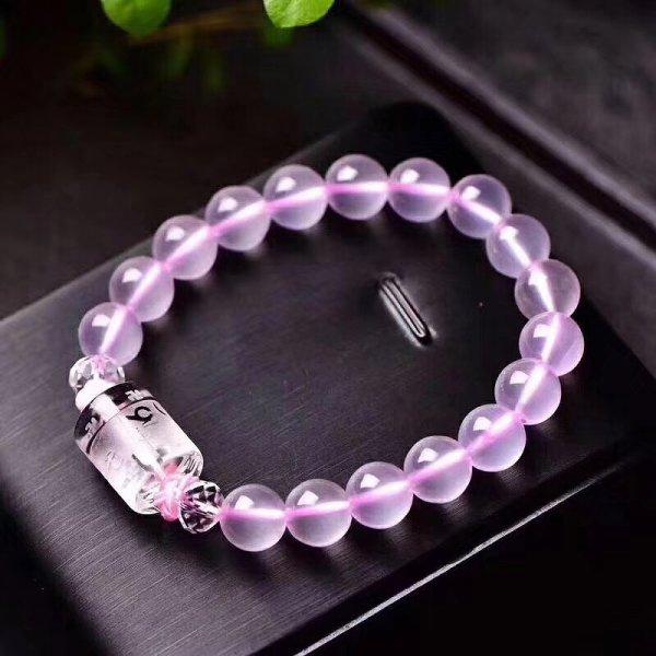 画像1: 天然ピンク水晶ブレスレット (1)