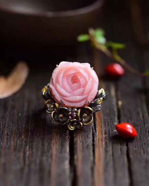 画像1: 天然ピンクオパール指輪 (1)
