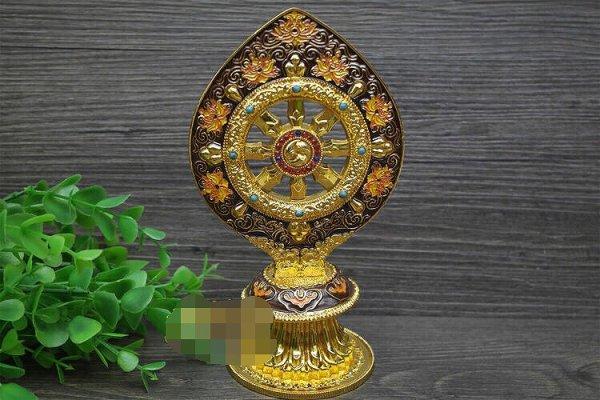 画像1: チベット密教法具合金法輪 高さ:約18cm (1)