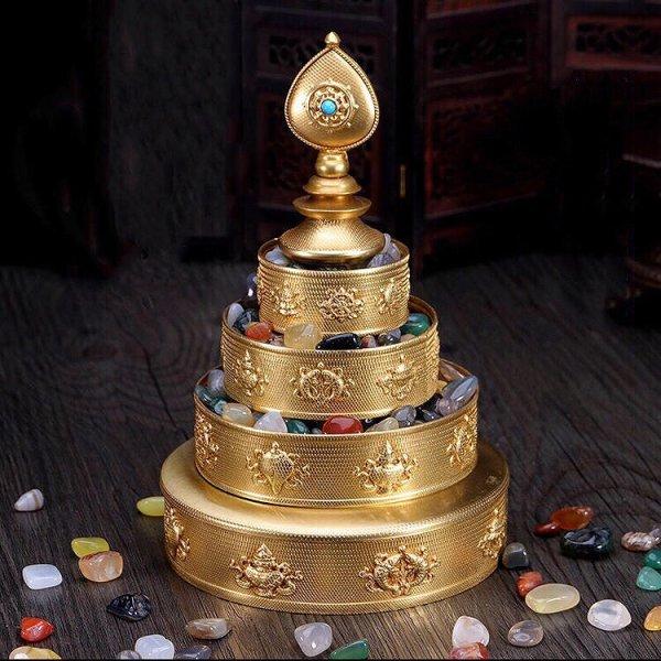 画像1: チベット密教法具銅製 マンザプレート (1)
