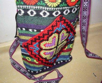 画像1: チベットリス族の伝統織り刺繍ポーチ